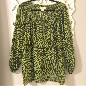 Michael Kors Animal Print Sheer Top